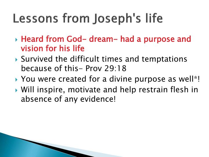 Lessons from Joseph's life