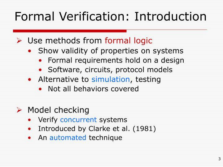Formal Verification: Introduction
