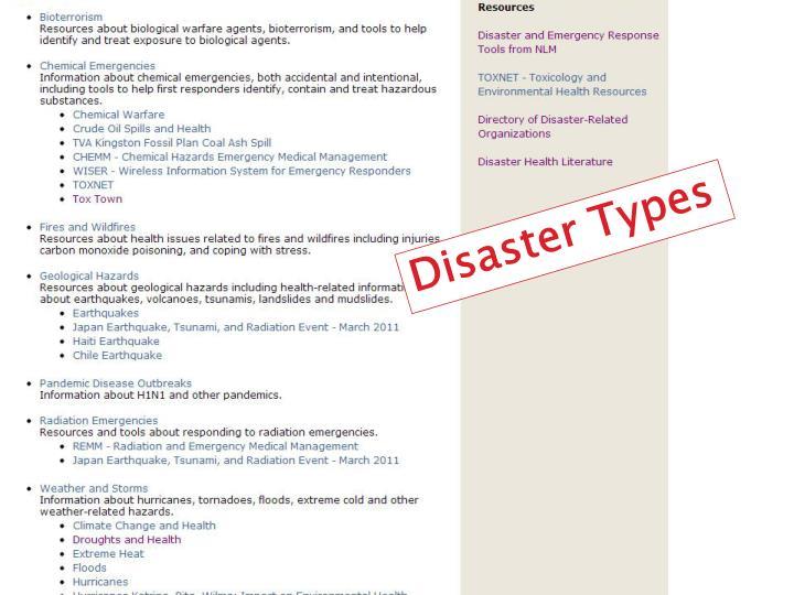 Disaster Types