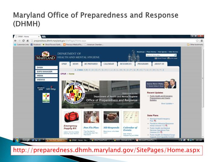 Maryland Office of Preparedness and Response (DHMH)