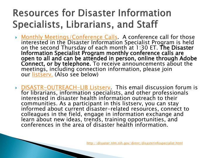 Resources for Disaster Information Specialists, Librarians, and Staff