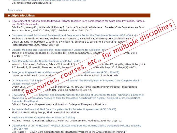 Resources, courses, etc., for multiple disciplines