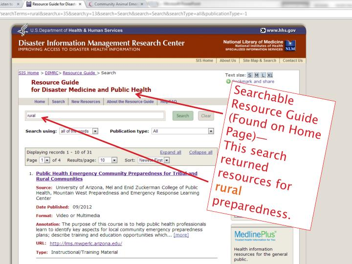 Searchable Resource Guide (Found on Home Page)—