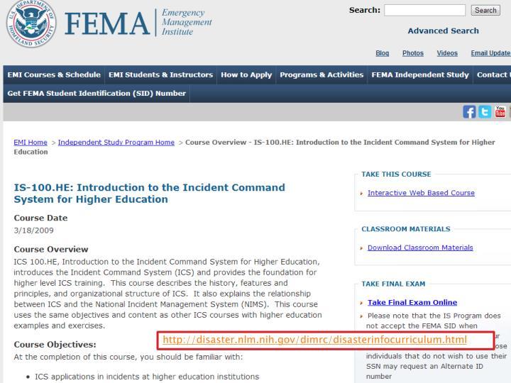 http://disaster.nlm.nih.gov/dimrc/disasterinfocurriculum.html