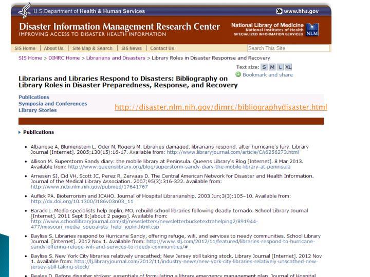 http://disaster.nlm.nih.gov/dimrc/bibliographydisaster.html