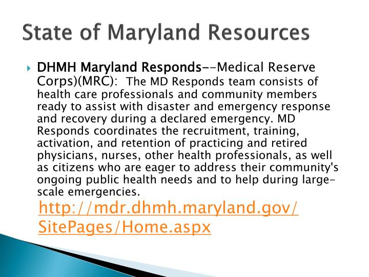 State of Maryland Resources