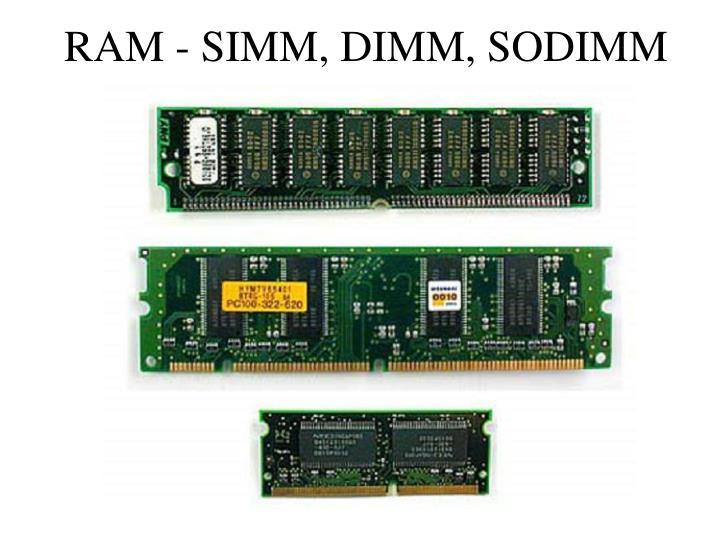 RAM - SIMM, DIMM, SODIMM