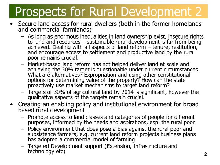 Prospects for Rural Development 2