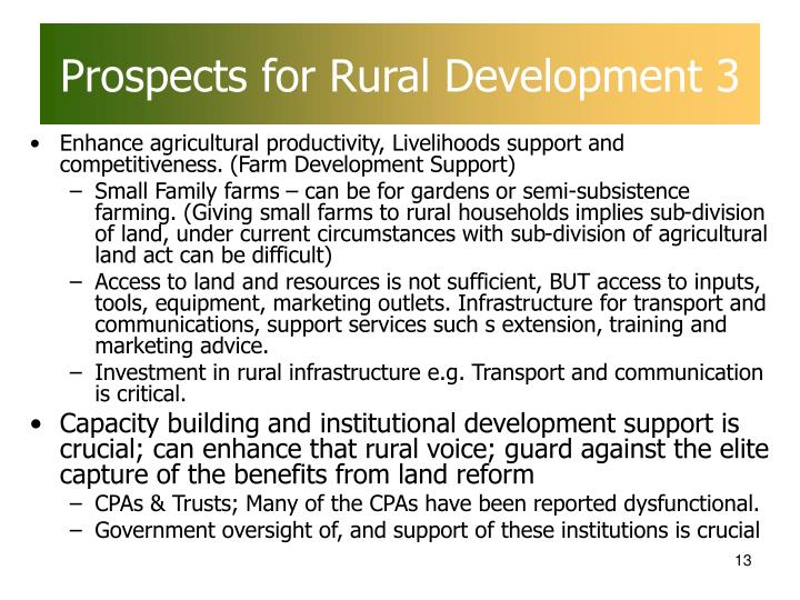 Prospects for Rural Development 3
