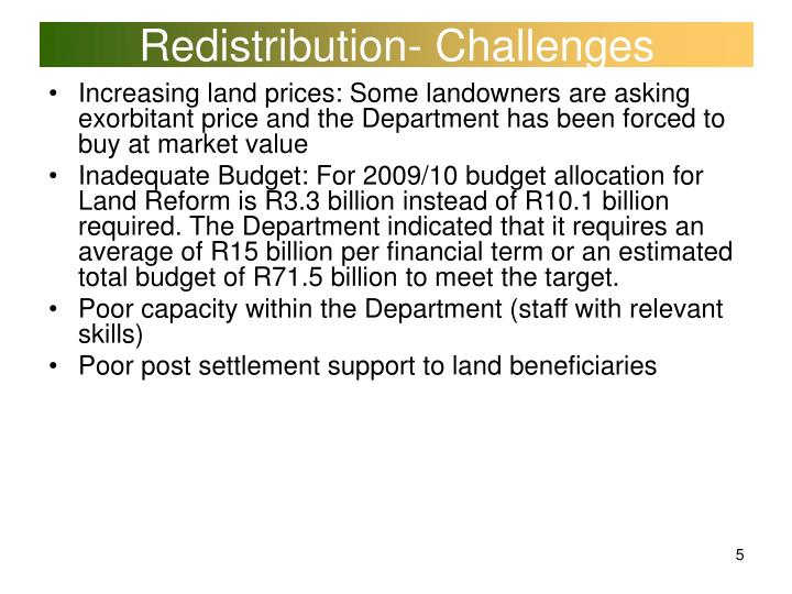 Redistribution- Challenges