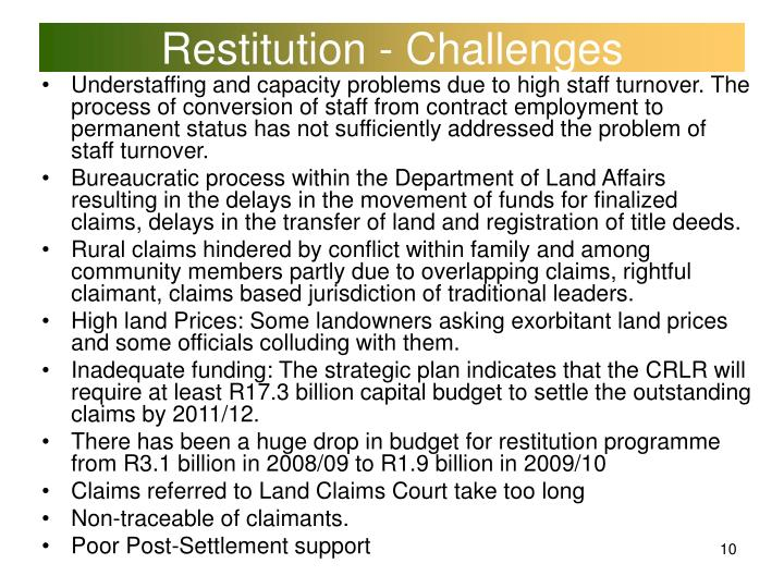 Restitution - Challenges
