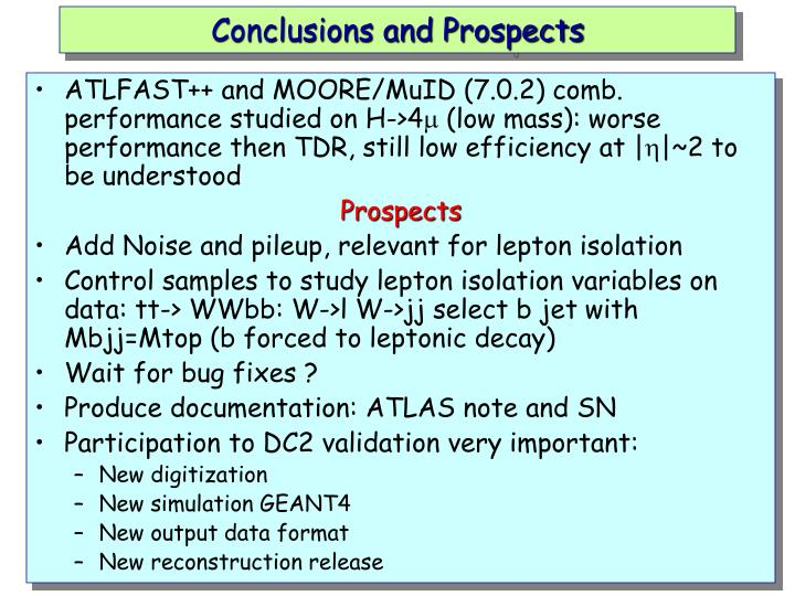 Conclusions and Prospects