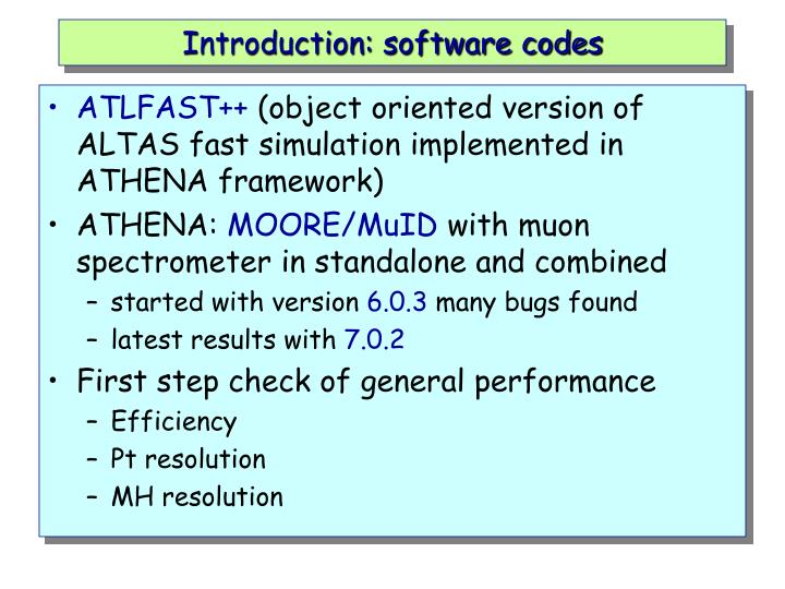 Introduction: software codes