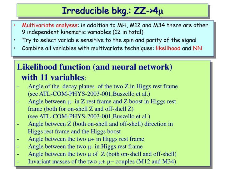 Irreducible bkg.: ZZ->4
