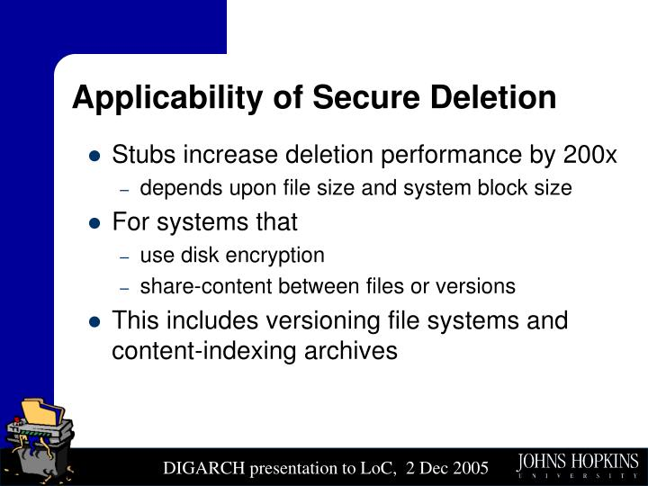 Applicability of Secure Deletion