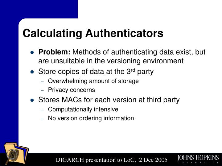 Calculating Authenticators