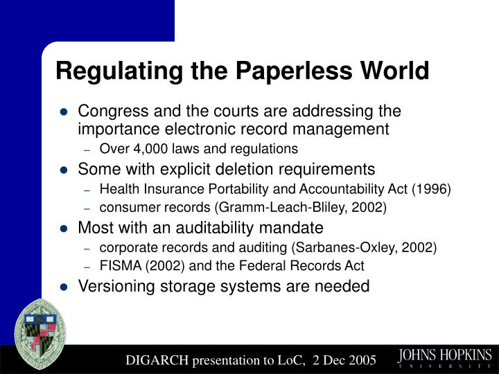 Regulating the Paperless World