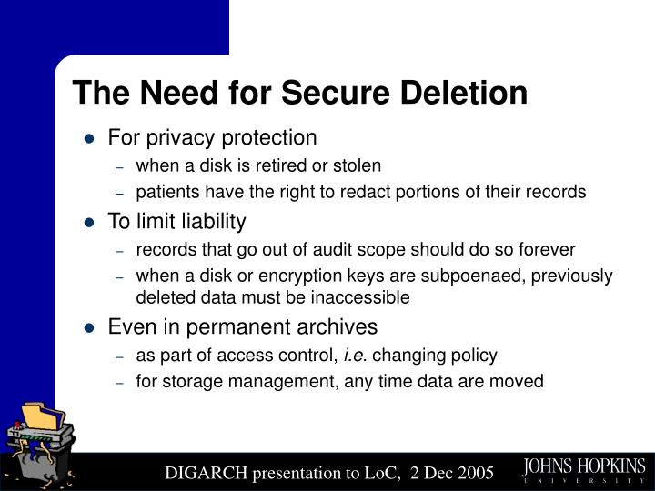 The Need for Secure Deletion