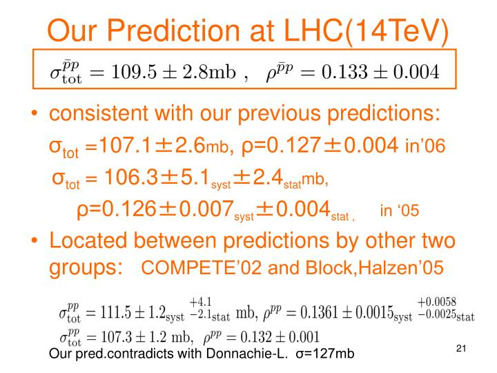 Our Prediction at LHC(14TeV)