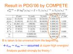 result in pdg 06 by compete