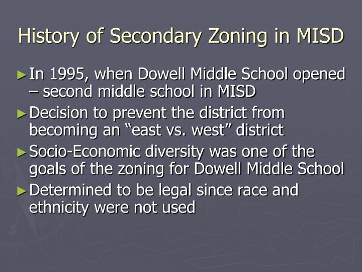 History of secondary zoning in misd