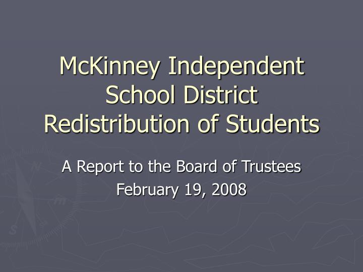 Mckinney independent school district redistribution of students