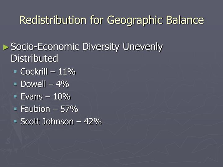 Redistribution for Geographic Balance