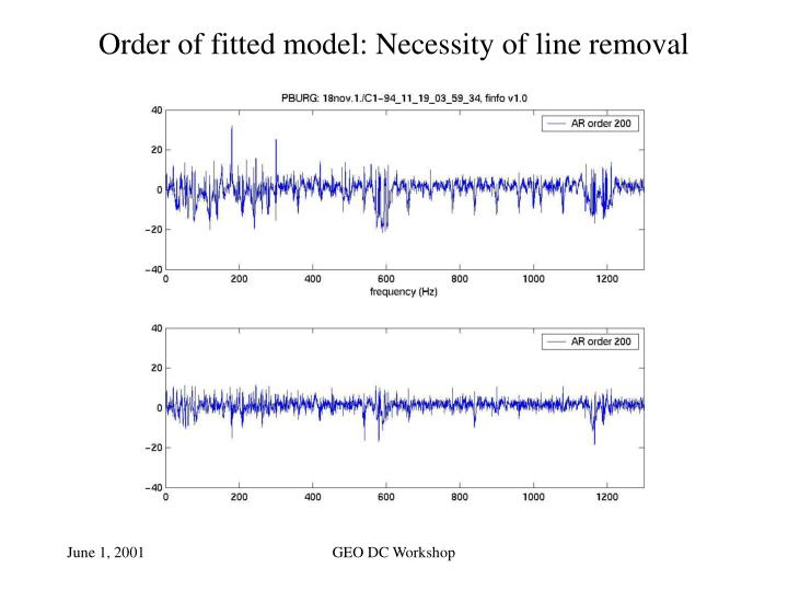 Order of fitted model: Necessity of line removal