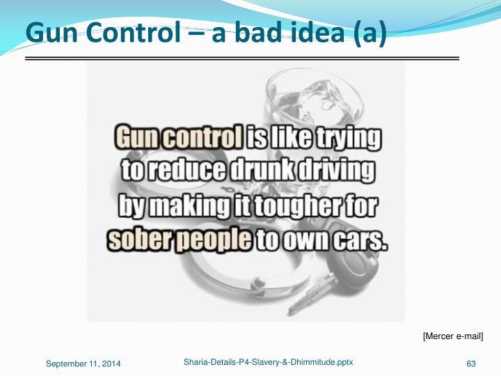 Gun Control – a bad idea (a)