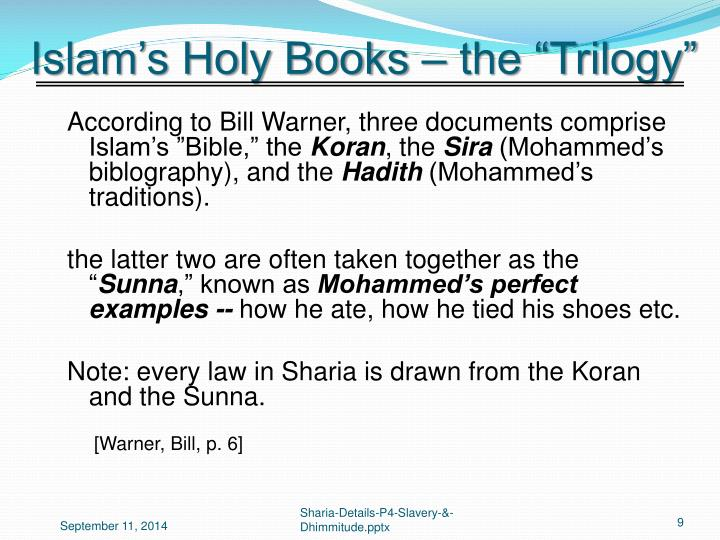 "Islam's Holy Books – the ""Trilogy"""