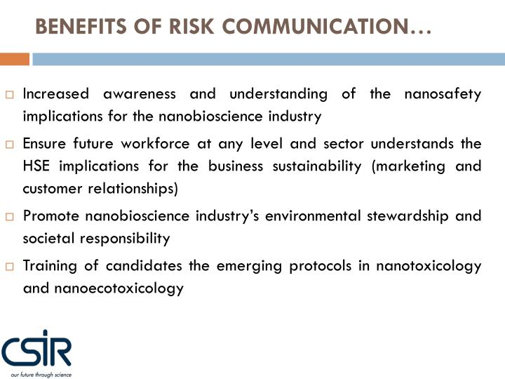 BENEFITS OF RISK COMMUNICATION…