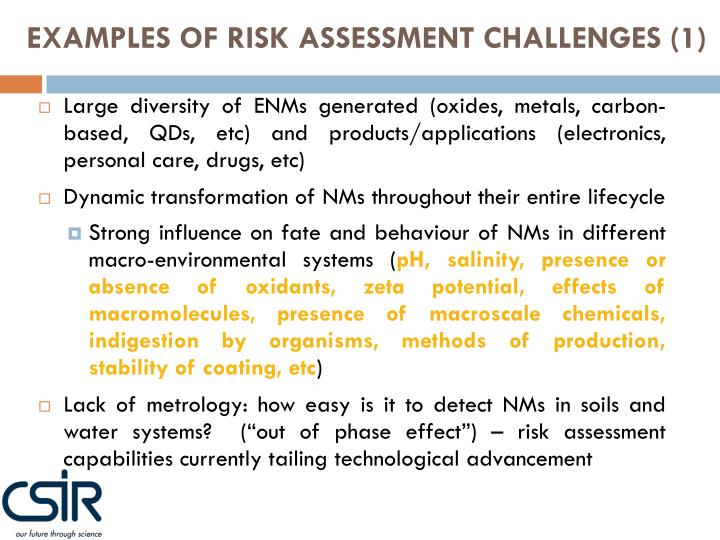 EXAMPLES OF RISK ASSESSMENT CHALLENGES (1)