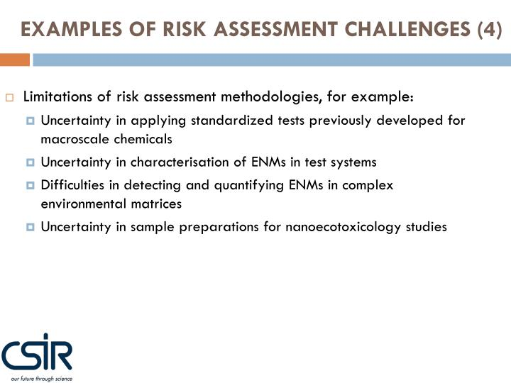 EXAMPLES OF RISK ASSESSMENT CHALLENGES (4)