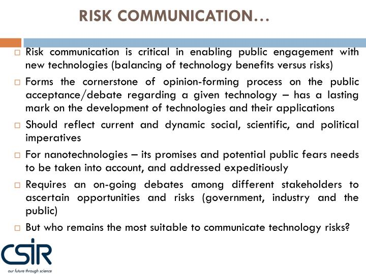 RISK COMMUNICATION…