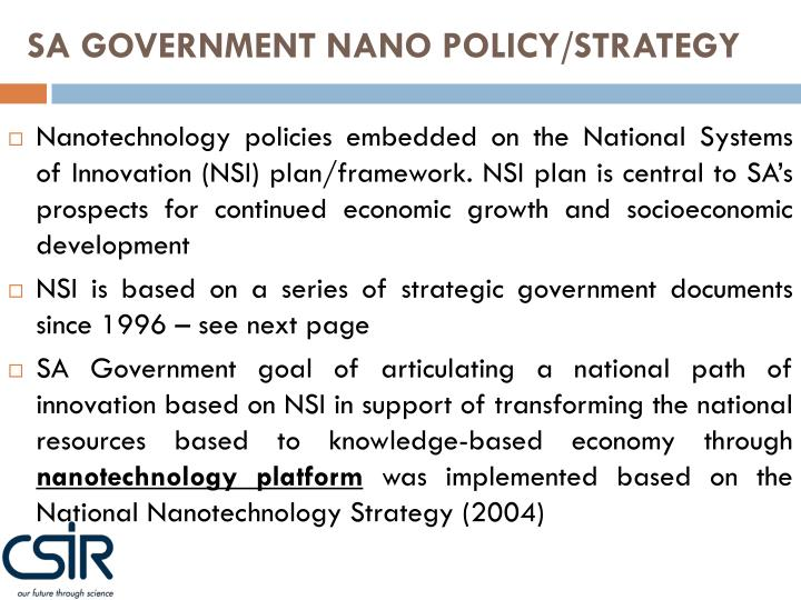 SA GOVERNMENT NANO POLICY/STRATEGY