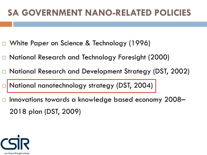 SA GOVERNMENT NANO-RELATED POLICIES