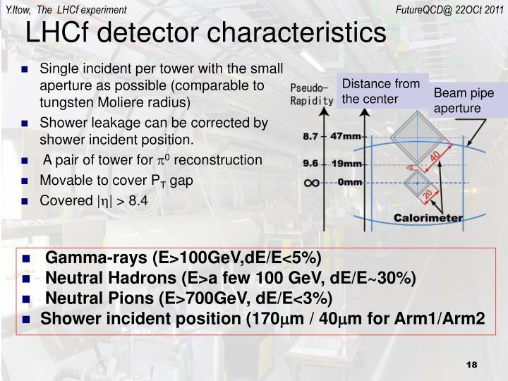 LHCf detector characteristics