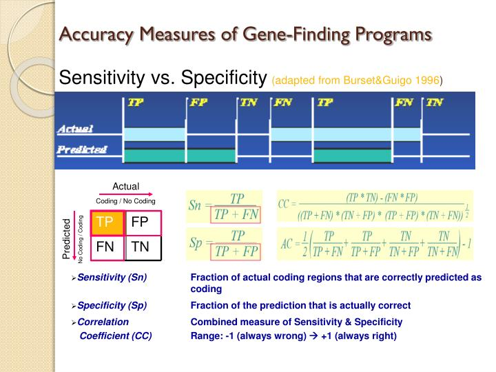 Accuracy measures of gene finding programs