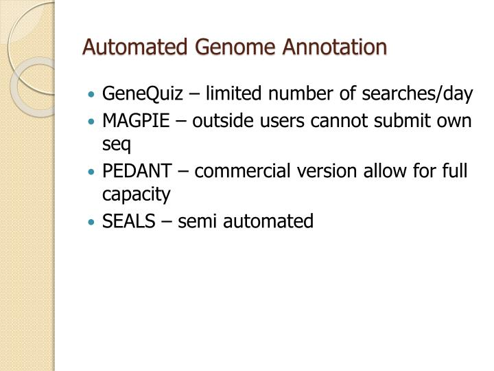 Automated Genome Annotation