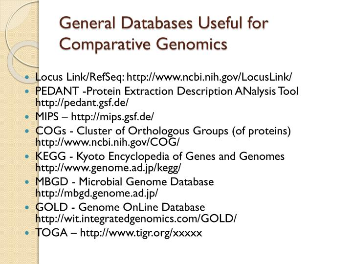General Databases Useful for Comparative Genomics