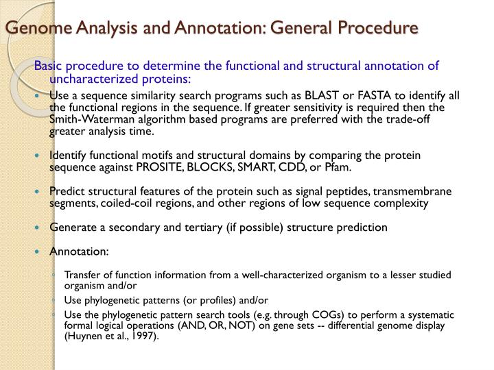 Genome Analysis and Annotation: General Procedure