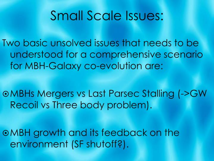 Small Scale Issues:
