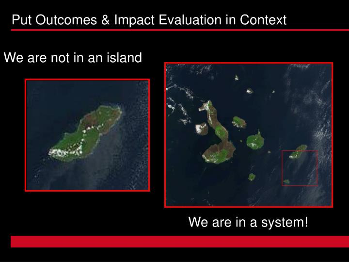 Put Outcomes & Impact Evaluation in Context