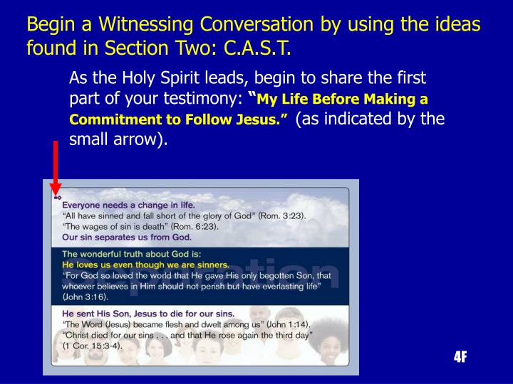 Begin a Witnessing Conversation by using the ideas found in Section Two: C.A.S.T.
