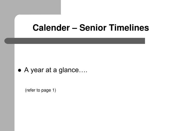 Calender – Senior Timelines