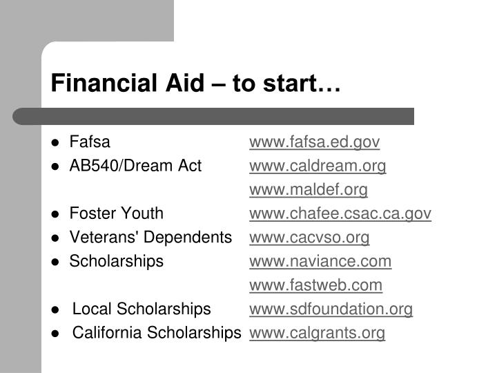 Financial Aid – to start…
