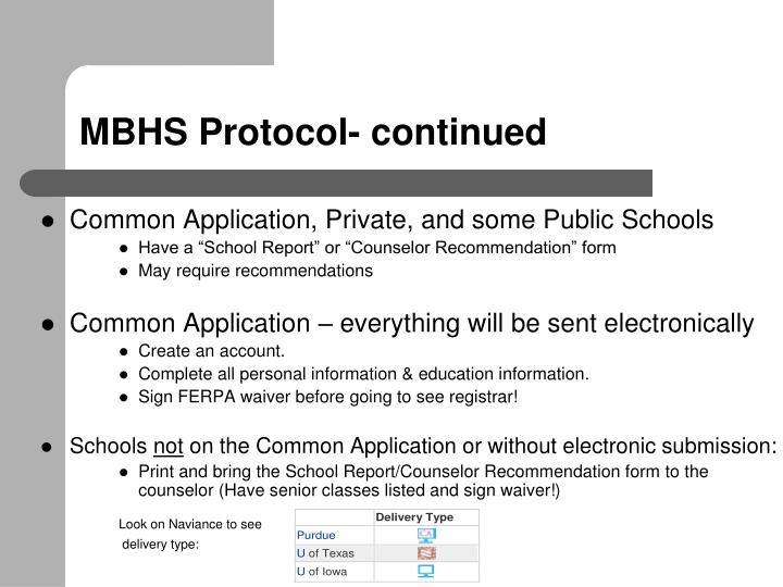 MBHS Protocol- continued