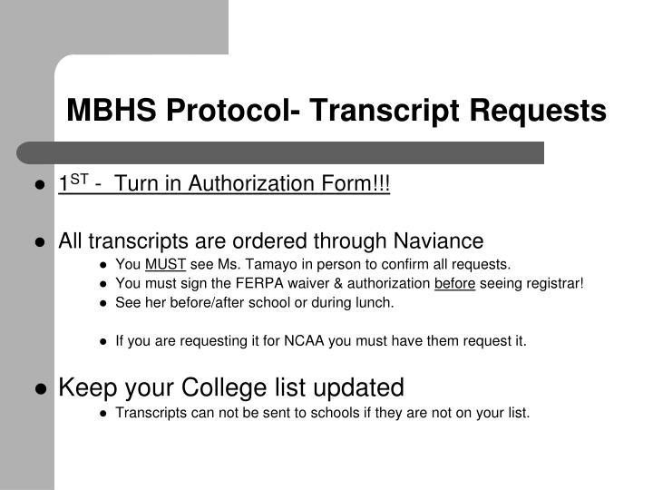 MBHS Protocol- Transcript Requests