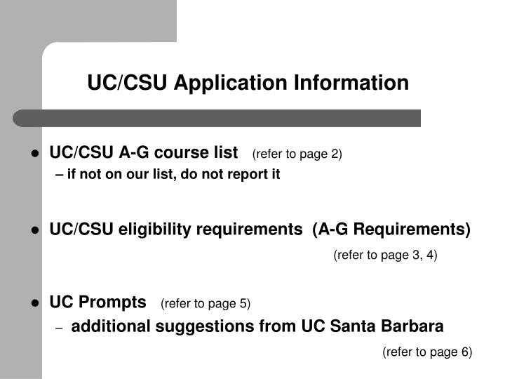 UC/CSU Application Information