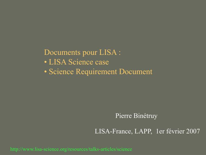 Documents pour LISA :